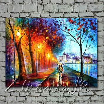 City By The Lake Oil painting Palette knife oil painting art knife oil painting on canvas hight Quality Hand-painted Painting4