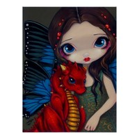 Baby Red Dragon dragonling fairy Art Print