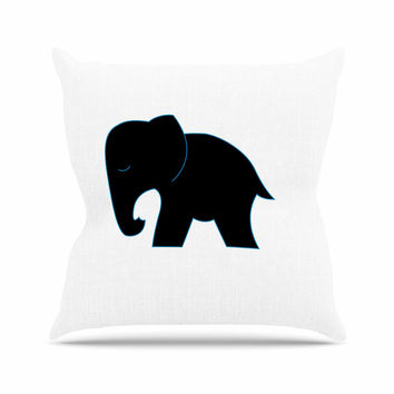 "NL Designs ""Cute Black Elephant"" Black Animals Outdoor Throw Pillow"