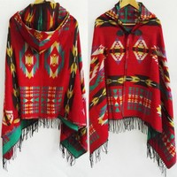 Bohemian Shawl Scarf Tribal Fringe Hoodies Jacket
