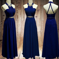 Royal blue Prom dress sexy backless Wedding Party Dress Long  Bridesmaid Dresses Long Prom Dresses party dress,formal dress