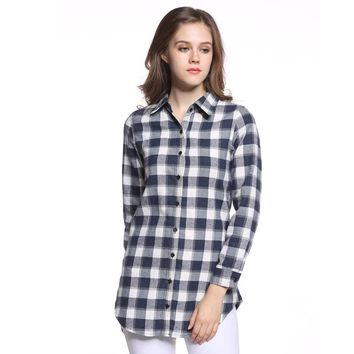 Sale Women Blouses Long Shirts Single Breasted Plaid Cotton Shirt Wild Casual Streetwear Shirt Women Plus Size Blouse
