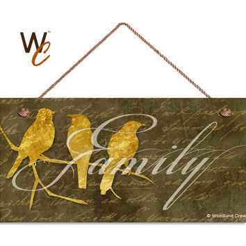 "Birds On A Wire Sign, Family Sign, Gold Foil Birds, Weatherproof, 5"" x 10"" Sign, Rustic Decor, Housewarming Gift, Made To Order"