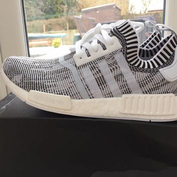 Adidas Trainers NMD R1 Prime Knit White & Black New Size 7