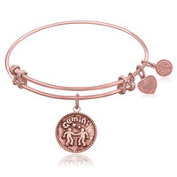 Expandable Bangle in Pink Tone Brass with Gemini Symbol