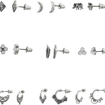 Boho Burnish Silvertone Novelty Multi Earrings Stud Set (9PCS)