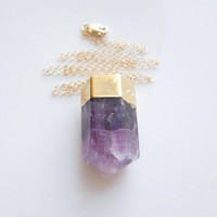 Fluorite Necklace in Plum Purple - OOAK Jewelry