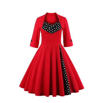 Plus Size S-5XL Women Clothing Audrey Hepburn 1950s Vintage Rockabilly Flowers Print Dresses Winter Retro Swing Casual Vestidos