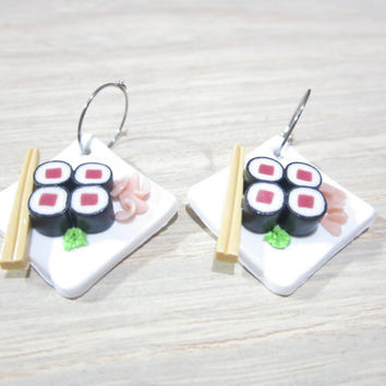 Sushi Earrings - tuna maki sushi food jewelry