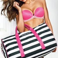 VICTORIA'S SECRET GETAWAY BAG 2013 striped duffle gym travel pink black bra tote