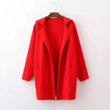 2016 Fashion Loose Women Knitted Solid Color Turn-Down Collar Full Sleeve Long Cashmere Cardigan Sweater Casual Ladies Sweater