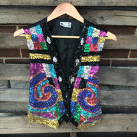Vintage Sequin Vest Heavily Sequined Vest Top Black rayon Multi Colored Colorful Sequins Bali Indonesia