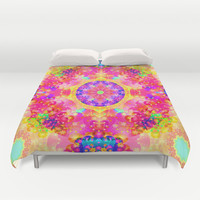 Pink and Yellow Kaleidoscope Fractal Pattern Duvet Cover by Hippy Gift Shop