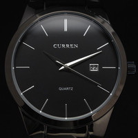New CURREN Fashion Black Mens Date Analog Army Military Quartz Sport Wrist watch