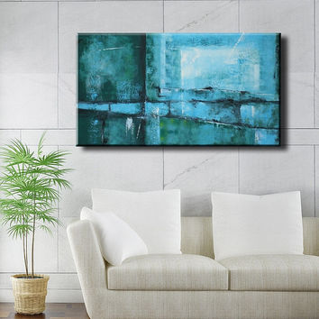 36 inch Original Textured Acrylic Painting Green Windows on Canvas Wall Decor