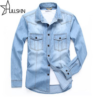Linen Dress Shirts Brand 2016 Autumn Men Slim Fit Long Sleeve Denim Shirt Mens Big And Tall Shirt Jacket Casual Camisa 6XL 68033