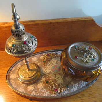 Art Deco Era 24KT Gold Plated Oromolu Jeweled Dresser Set