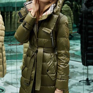 MissFoFo New Fashion White Goose Down Women's Jacket Solid Zippers Adjustable Waist Pockets Green Black Beige Size S-XXL
