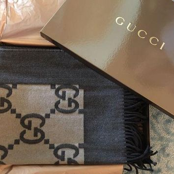 ESBON2D NEW Gucci Throw Wool Blanket Rare Brown Logo Print $995 Made in Italy