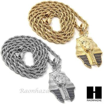 CREYONRC MENS HIP HOP ICED OUT PHARAOH KING-TUT CZ PENDANT 24' ROPE CHAIN NECKLACE N029