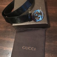 "Men's Gucci black GG Leather Belt: 30""-36"" Waist"