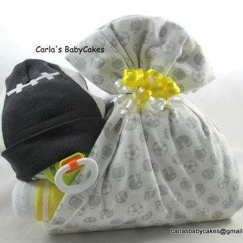 Stork bundle baby | Boy diaper cake | Stork bundle | Sports football diaper cake | Baby shower gift | Unique baby gift |  Baby sprinkle gift