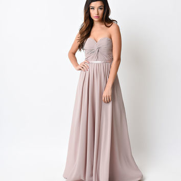 Mauve Strapless Corset Back Dress