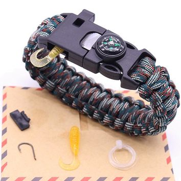 Latest 5 in 1 Multifunction Fishing Line Hook Compass Survival Bracelet