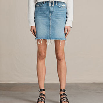 ALLSAINTS US: Womens Kim Denim Skirt (LIGHT INDIGO BLUE)