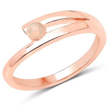 LoveHuang 0.04 Carats Genuine Ethiopian Opal Minimalist Ring Solid .925 Sterling Silver With 18KT Rose Gold Plating