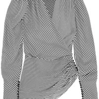 Magda Butrym - Ronda asymmetric draped striped silk blouse