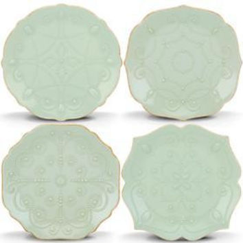 French Perle Ice Blue 4-Piece Assorted Dessert Plates by Lenox