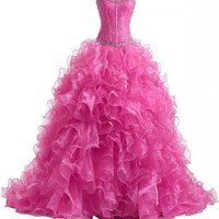 Y&C Women's Crystals Ruffles Strapless Train Quinceanera Dress
