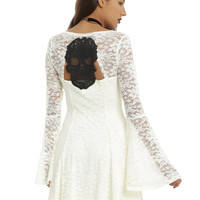 Ivory Lace Long Bell Sleeve Skater Dress