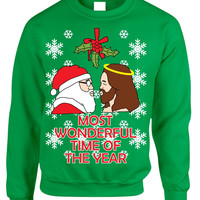 Most wonderful time Santa and Jesus Womens sweater