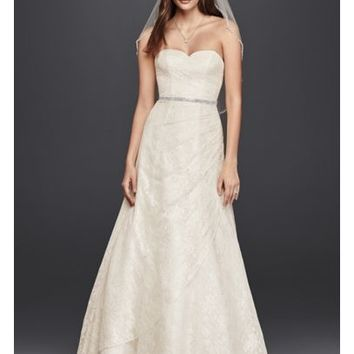 Allover Lace A-Line Strapless Wedding Dress - Davids Bridal