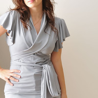 Wrap Top. Light Grey Top With Ruffled Sleeves, Women's Jersey Top , Custom Top