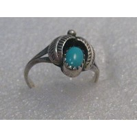 Vintage Southwestern Sterling Turquoise Ring, sz. 5, 1970's