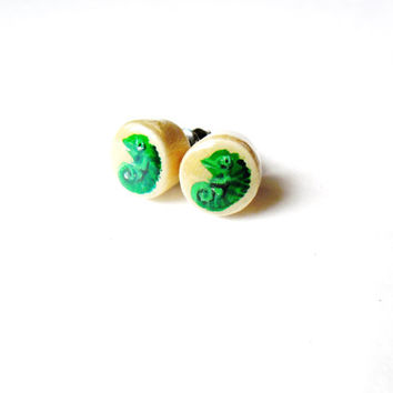 Chameleon Earrings  - Wildlife Reptile Earrings Animal Jewelry Hand Painted Stud Earrings Chameleon Charm - Wildlife Earring Wooden Jewelry