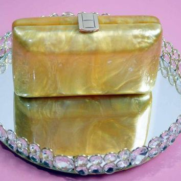 Gold Mother of Pearl 70's Acrylic Box Clutch