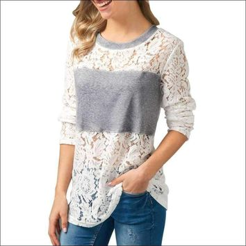 Women Ladies Casual Lace Patchwork Shirt Long Sleeve Tops Blouse