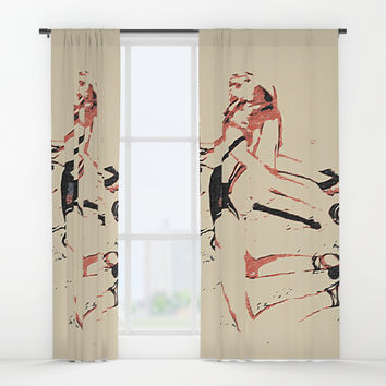 Abstract bondage play, hardcore fetish stretching, sexy BDSM erotic games in bedroom Window Curtains by Casemiro Arts - Peter Reiss