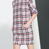 CHECKED DRESS - Dresses - Woman | ZARA United Kingdom