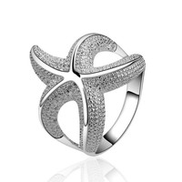 Beautiful Sea Star Silver Plated Ring Luxury Brand Hurge Bulgary Wedding Rings For Women 2015 New Fashion Jewelry