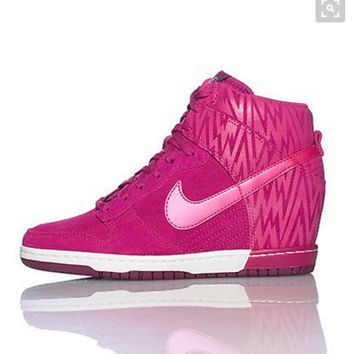 NIKE Hidden Heel Charm High Boots Height Increasing Women Sneakers Shoes ROSES