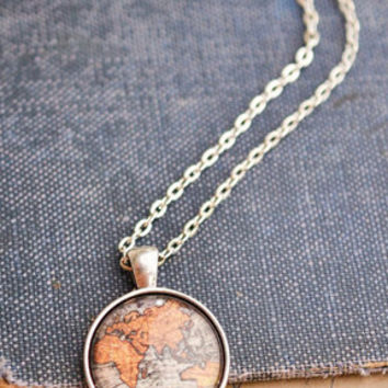 Antique Map Necklace