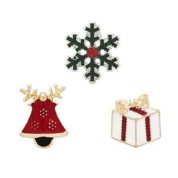 Gifts Pins And Brooches For Women 3pcs/set Small Bell Snowflake Crystal Brooch Female Bijoux
