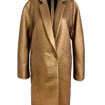 Donna Karan New York Gold Metallic Easy Coat