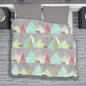 Modern Rustic Bears in Forest Duvet Set - Twin, Queen, King