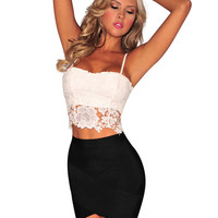 Spaghetti Strap Lace Bodycon Cropped Top